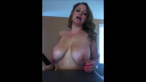Fuck my big tits with black dildo