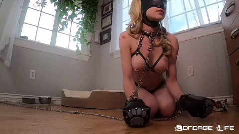 Tight bondage, domination and predicament for naked girl HD 1080