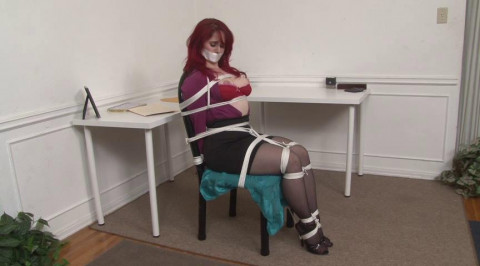 Secretary Andrea Rosu Tied Up and Topless