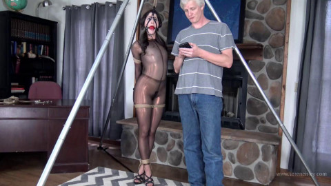 Arielle Lane: Tightly Bound in a Bronze Catsuit