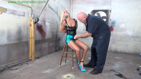 Amanda Foxx - Hung up by her leather fastened milk cans