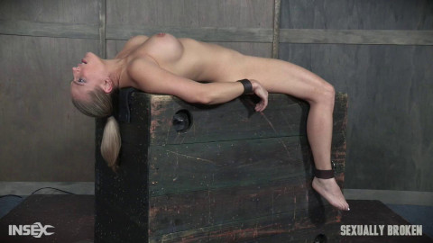 Bound and helpless, Big titted blond is deepthroated, face fucked