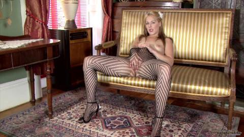 Aston Wilde - A pantyhose stripe tease!