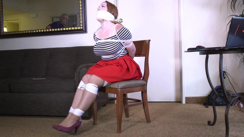 Tied up and gagged like this, you should pull my panties!