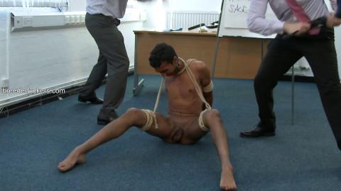 Daman - Cuffed, bound, teats clamped, groped