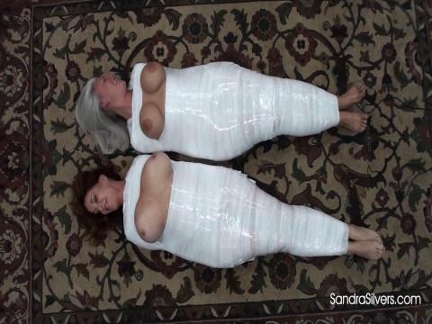 Big-Breasted Mummified MILFs Endure Inescapable Bondage Orgasms!