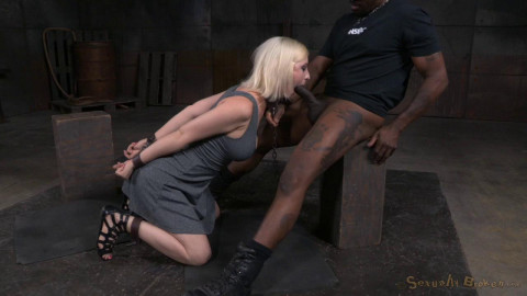 Pale blonde Cherry Torn chained down trained rough fucking and epic deepthroat! (2015)