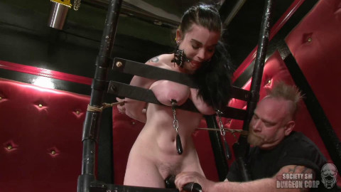Hard restraint bondage, spanking and suffering for excited brunette hair part1 HD 1080p