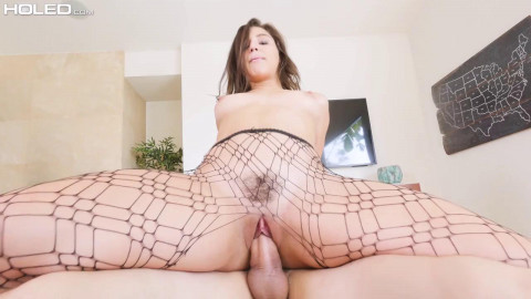 Gaped In Ripped Stockings