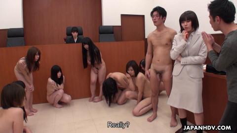 Sena Sakura are drilled in a court room foursome