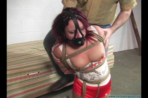Hooters Girl Neckroped Groped Harness Gagged and Hogtie Suspended 2 part