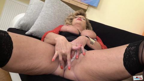 Busty milf shine masturbates in black lingerie