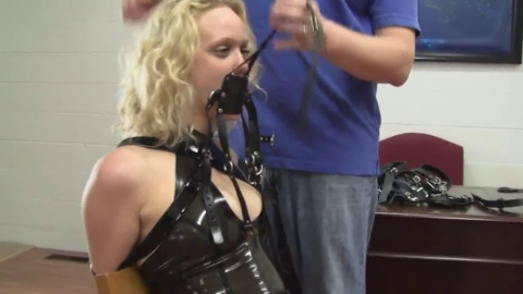 Extreme bondage and hogtie for hot bitch with small boobs
