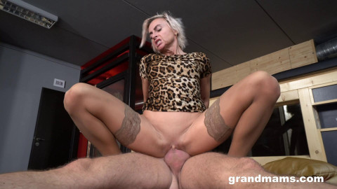 Fit granny fucked by big stud