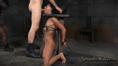 Hardcore throatboarding sybian slut London River drooling destroyed by dick! (2015)