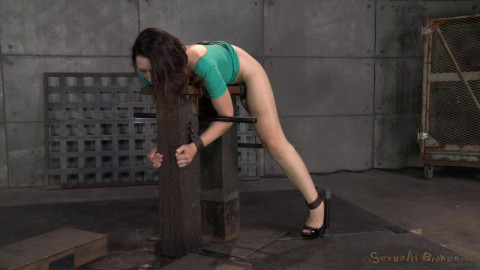 Sarah Shevon restrained and used hard from both ends by hard cock, drooling brutal deepthroat!