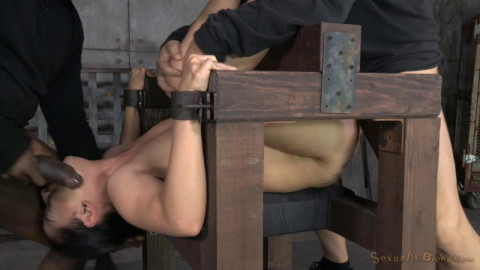 All natural newbie Katrina Jade fucked hard by two dicks while in strict device bondage, creampied!
