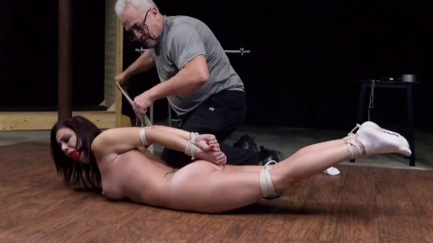 Tight tying, torment and wrist and ankle bondage for sexy bare slavegirl