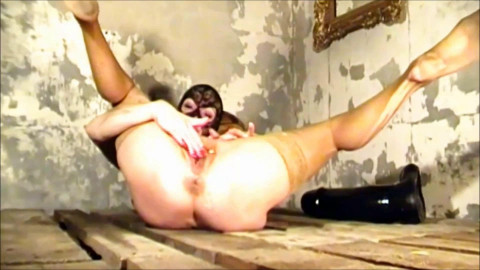 Filling pussy with two massive dildos