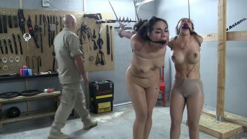 Super restraint bondage, soreness and strappado for 2 hawt stripped sluts HD 1080p