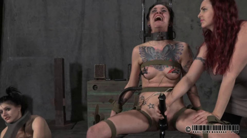 Hard restraint bondage, spanking and torment for 2 nude gals part 1