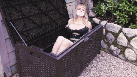 Bdsm Most Popular Big Boobed Babe Bound in Silky Slip Outdoors