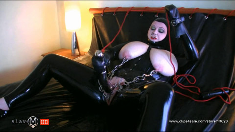 Tight bondage and torture for very horny bitch in latex