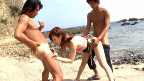Threesome in the Summer Beach