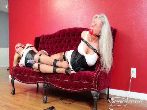 Corseted & Girdled Slaves Lisa & Sandra Lashed w/ Leather for Ballgagged