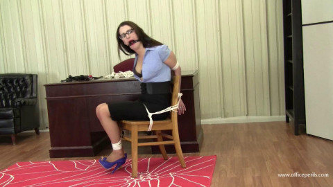 Belle Davis - Gag Testing The Chair Tied Secretary