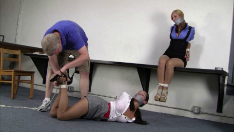 Crystal Frost & Summer Peters : Fire Drill Bondage Challenge