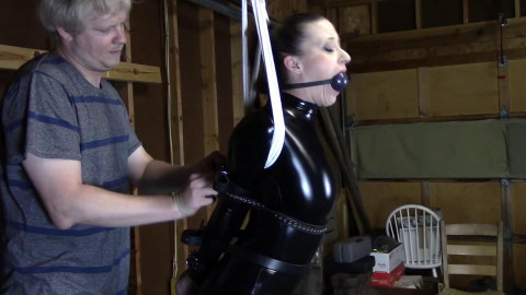 Tight bondage, strappado and hogtie for hot girl