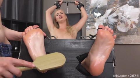 Ticklish blonde in socks