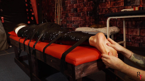 HD Power play Sex Movie scenes  Foot tickling with oil and hairbrush in plastic wrap