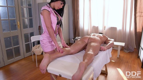 Valentina Ricci - Rubbing His Rod: Busty Masseuse Stuffs Deep Throat With Cock FullHD 1080p