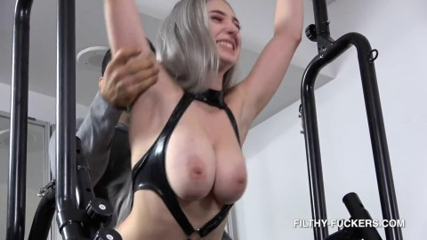 Hard bondage and domination for very beautiful bitch in latex HD 1080
