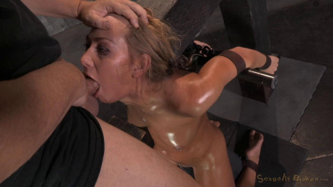 Carter Cruise blindfolded, oiled down, sybian blasted to multiple orgasm!