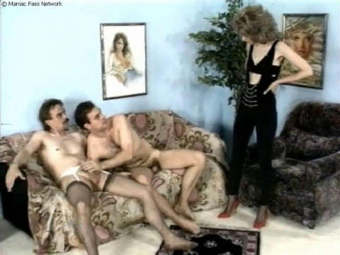 Domina staged an orgy with strapom