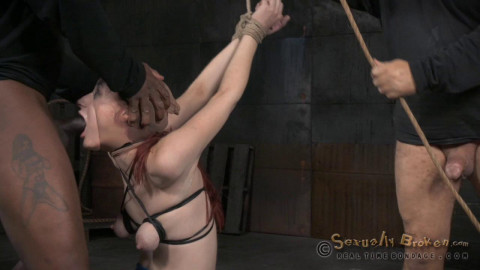 Redheaded sybian slut Violet Monroe does drooling deepthroat on BBC bound in brutal strappado!