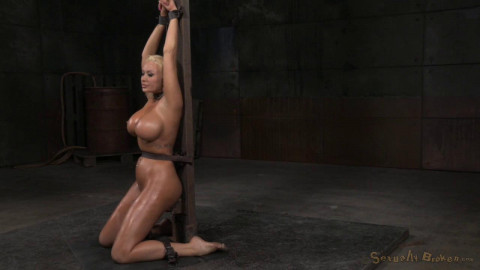 Beautiful big breasted blonde Summer Brielle shackled throatboarded deepthroat! (2015)