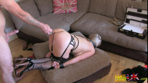 BDSM Show - Rebecca - Double penetration for big titted blonde in BDSM style adult casting