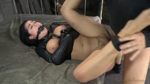 Katrina Jade gets manhandled while gagged and straightjacketed 2 on 1