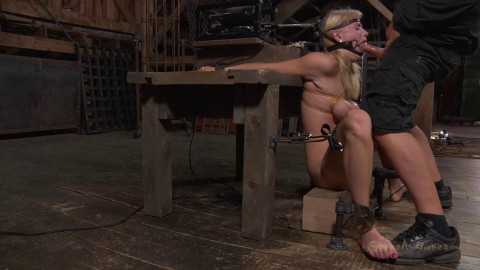 Allie James is locked into a automatic blow job machine, with huge ring gag! Brutal deep throating!