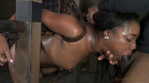 Chanell Heart ladder bound, tag teamed from both ends, brutal deepthroat