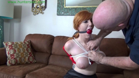 HunterSlair - Lauren Phillips - Busty redhead bibos brutal breast bondage