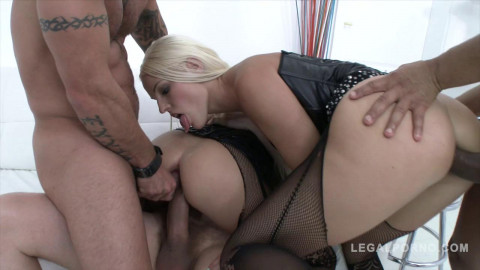 Dirty blond babes gangbanged with double anal