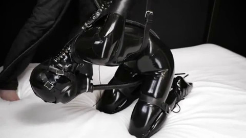 Bondage, domination and toture for lascivious cutie in latex HD 1080p