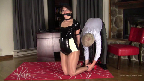 Paige Erin Turner - Leather Hogtied in Latex