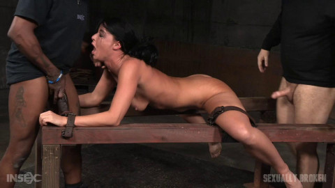 Flexible London River bound and split in half by giant cock with drooling massive orgasms!