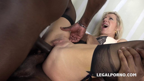 Blond milf whore Marina takes big black cocks